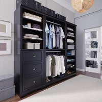 Classic Black 3 Piece Closet Wall Unit - Bedford