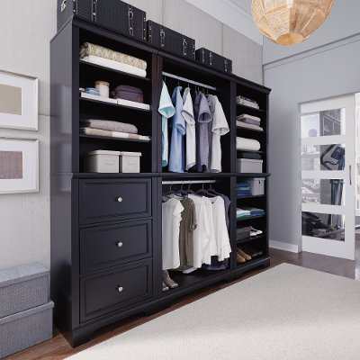 Classic Black 3 Piece Closet Wall Unit - Bedford | RC Willey ...