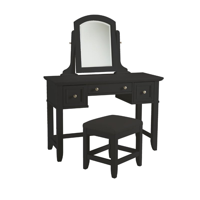 Satin Black Vanity Table and Bench - Bedford