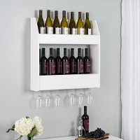 White Two-Tier Floating Wine Rack