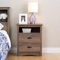 Modern Rustic Drifted Gray Nightstand - Salt Spring