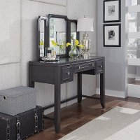 Classic Contemporary Gray Vanity and Mirror - 5th Avenue