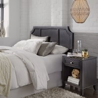 Classic Contemporary Gray Full-Queen Headboard & Nightstand - 5th Avenue