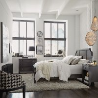 Classic Contemporary Gray Queen Bed, Nightstand & Chest - 5th Avenue