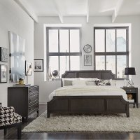 Classic Contemporary Gray King Size Bed, Nightstand & Chest - 5th Avenue
