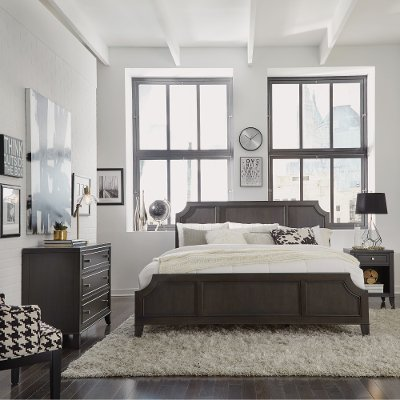 King Size Bedroom. Classic Contemporary Gray King Size Bed  Nightstand Chest 5th Avenue
