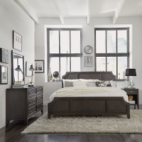 Classic Contemporary Gray 4 Piece King Bedroom Set - 5th Avenue