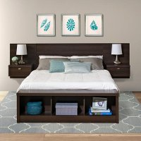 Modern Espresso Floating Queen Headboard with Nightstands - Series 9