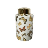 12 Inch White and Gold Butterfly Covered Jar