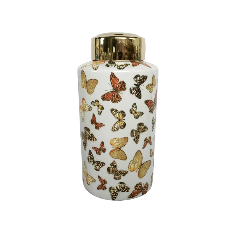 16 inch white and gold butterfly lidded jar rcwilley image1~800