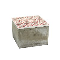 Cement Box with Red and Gray Lid