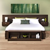 Modern Espresso Floating King Headboard with Nightstands - Series 9