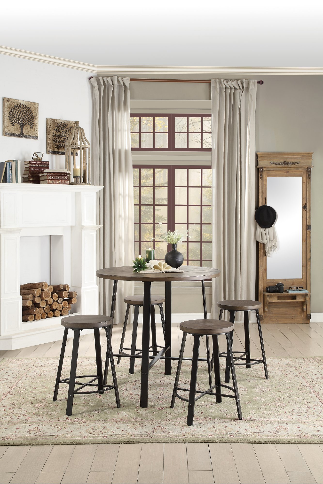 Oak And Metal 36 Inch Round Counter Height Dining Table   Chevre