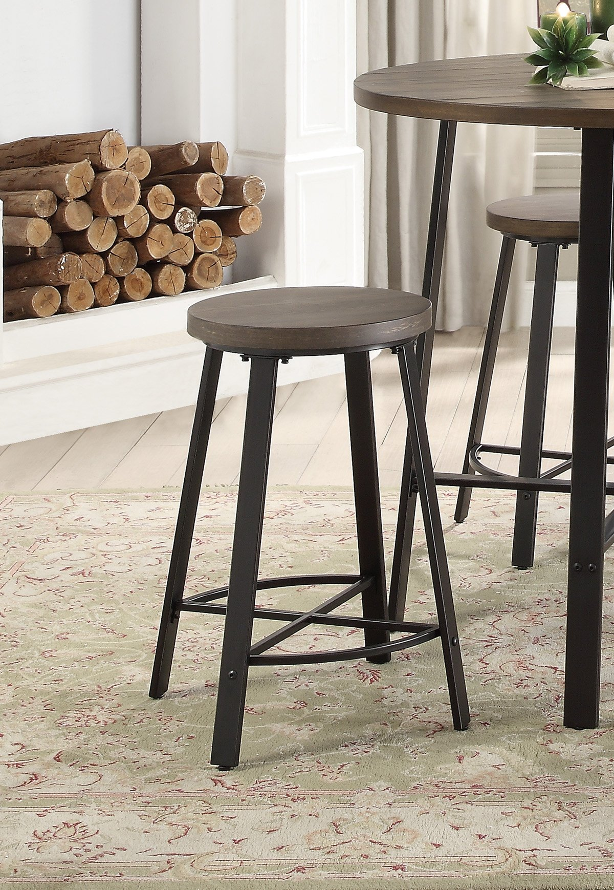 Oak And Metal 5 Piece Counter Height Dining Set Chevre