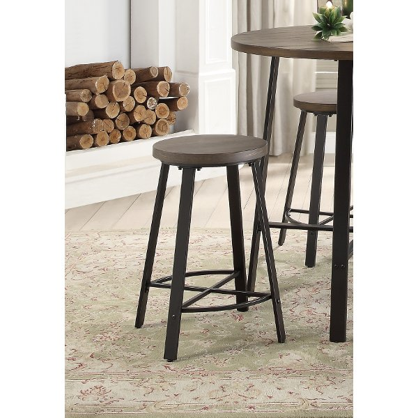 Oak And Metal 24 Inch Counter Height Stool Chevre