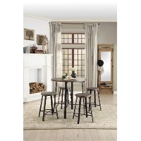 Oak and Metal 5 Piece Counter Height Dining Set - Chevre