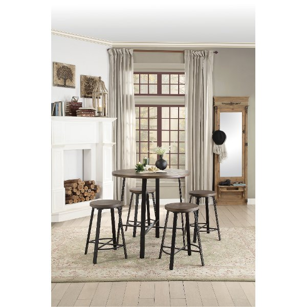 ... Oak And Metal 5 Piece Counter Height Dining Set   Chevre