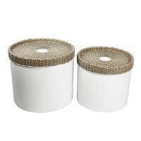 15 Inch Natural and Brown Metal Storage Canister