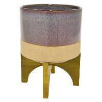 Iridescent Brown and Beige Planter On Wooden Stand