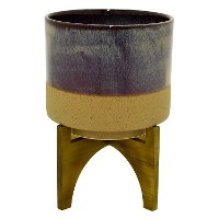 Iridescent Brown and Tan Round Planter On Wood Stand