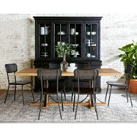 Black and Brown Industrial 5 Piece Dining Set - Magnolia Home