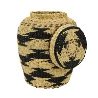 Tan and Black Paper Rope Storage Basket With Lid