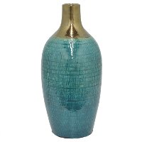 17 Inch Turquoise and Gold Ceramic Vase