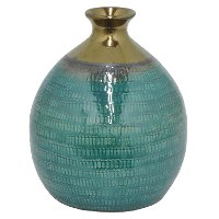12 Inch Turquoise and Gold Ceramic Vase