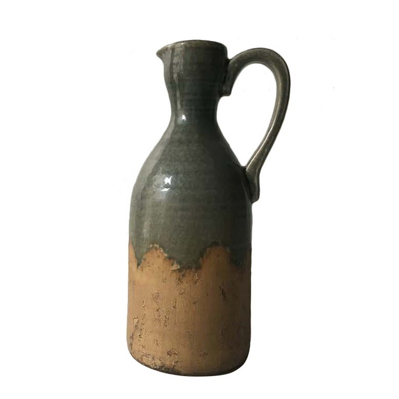 14 inch clay and gray ceramic pitcher vase with handle rcwilley image1~800