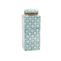 9 Inch Blue Ceramic Covered Jar