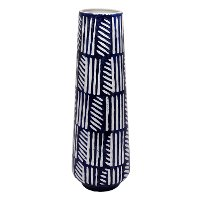 Navy Blue and White Ceramic Vase