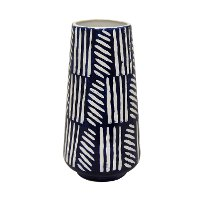 12 Inch Navy Blue and White Ceramic Vase