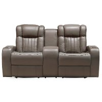 Genesis Gray Leather-Match Power Reclining Loveseat - Transformer