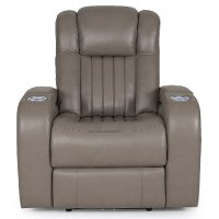 Genesis Gray Leather-Match Power Recliner - Transformer