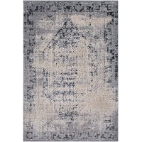 DUR1009-5373 5 x 7 Medium Charcoal Gray and Beige Area Rug - Durham