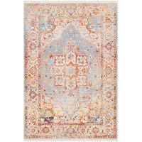 EPC2303-275 3 x 5 Small Transitional Gray and Orange Area Rug - Ephesians