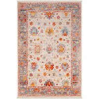 EPC2305-579 5 x 8 Medium Transitional Beige, Red and Blue Rug - Ephesians