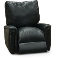 Classic Traditional Dark Blue Leather Power Recliner - Marine
