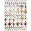 MCS2302-5373 5 x 7 Medium White, Blue and Orange Area Rug - Moroccan Shag