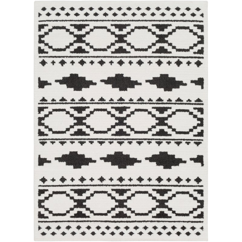 5 X 7 Medium Charcoal Gray Black And White Area Rug Moroccan