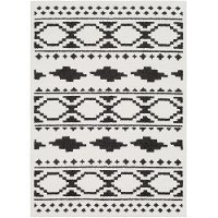 MCS2305-6796 7 x 10 Large Charcoal Gray, Black and White Area Rug - Moroccan Shag