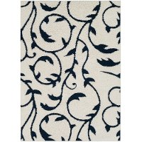 CLG2313-23 2 x 3 X-Small Cream and Navy Blue Rug - Cut and Loop