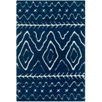 CLG2315-5373 5 x 7 Medium Navy Blue and Cream Area Rug - Cut and Loop