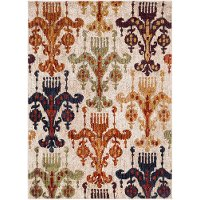 SRP1015-2773 Tan, Green, and Orange 7 Foot Runner Rug - Serapi