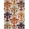 SRP1015-5373 5 x 7 Medium Tan, Green and Orange Area Rug - Serapi