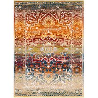 SRP1011-5373 5 x 7 Medium Traditional Red and Orange Area Rug - Serapi