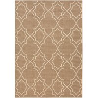ALF9587-5376 5 x 8 Medium Camel and Cream Indoor-Outdoor Rug - Alfresco