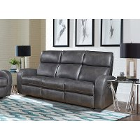 Fossil Gray Leather-Match Power Reclining Sofa - Mercury
