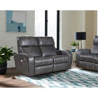 Fossil Gray Leather-Match Power Reclining Loveseat - Mercury