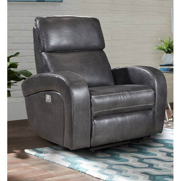 Fossil Gray Leather Match Power Recliner   Mercury Hot Buy